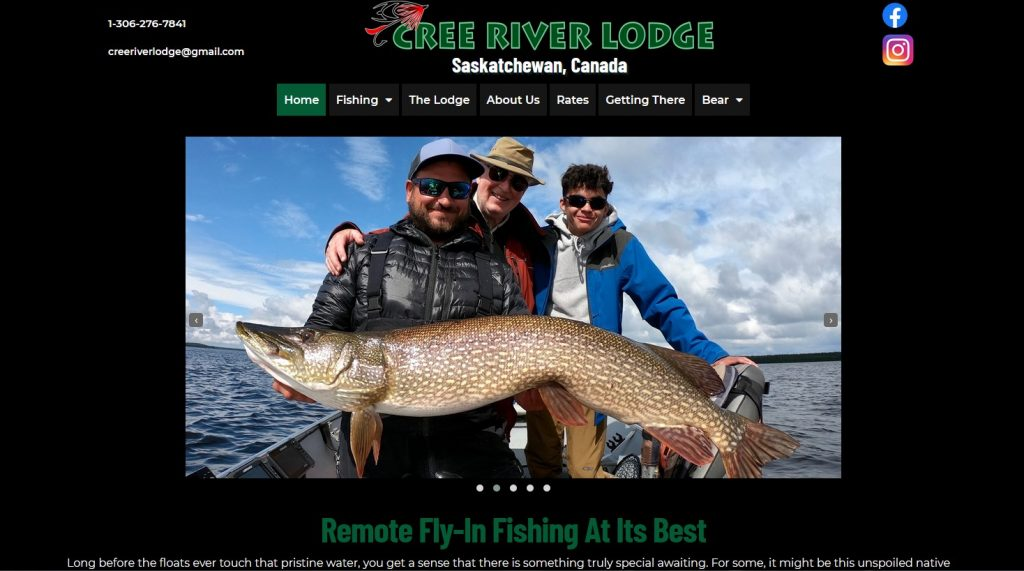 website launch for cree river lodge